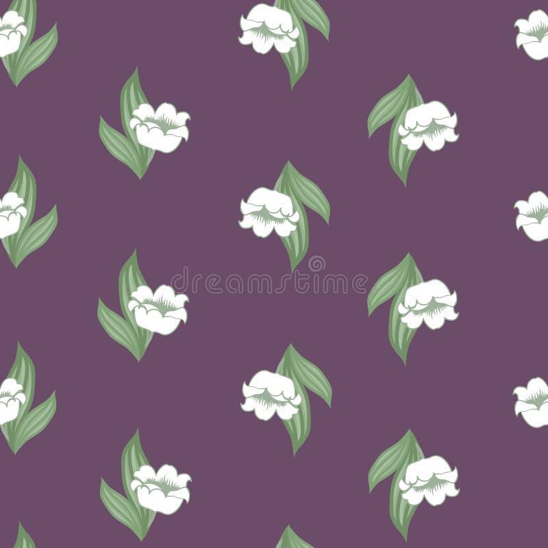 Teste padrão floral sem emenda com o lírio do vale ilustração royalty free