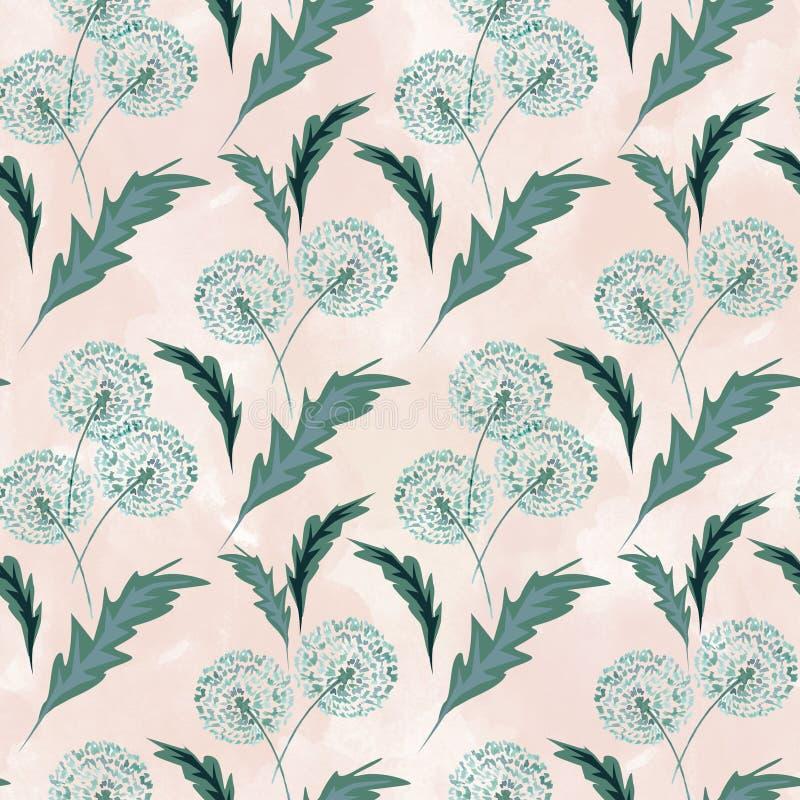 Teste padrão floral sem emenda com os dentes-de-leão no fundo claro ilustração do vetor