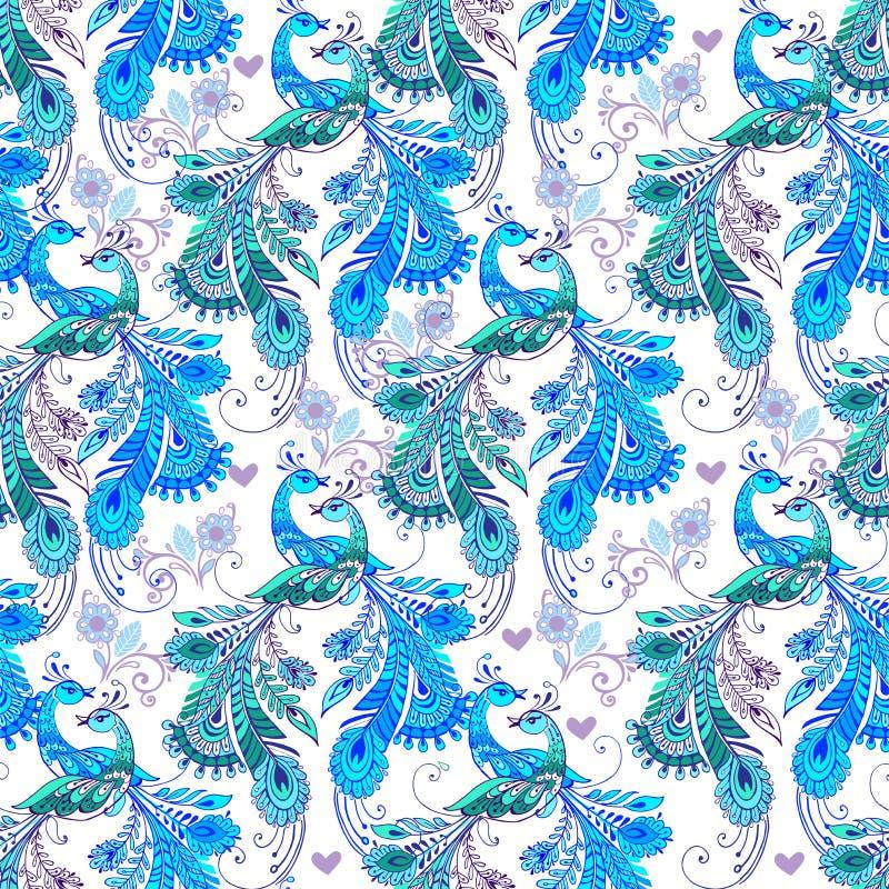 Teste padrão floral sem emenda com os pássaros fantásticos azuis Decorativo ou ilustração royalty free