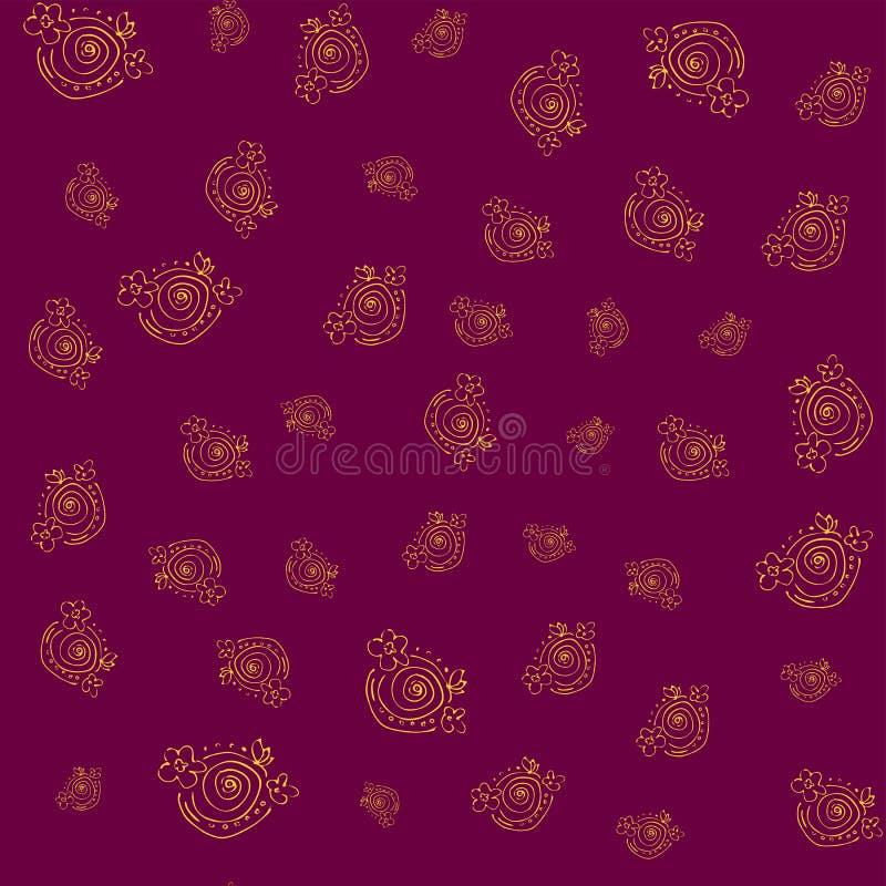Teste padrão floral sem emenda com ouro handdrawn dos elementos na obscuridade - fundo vermelho ilustração stock
