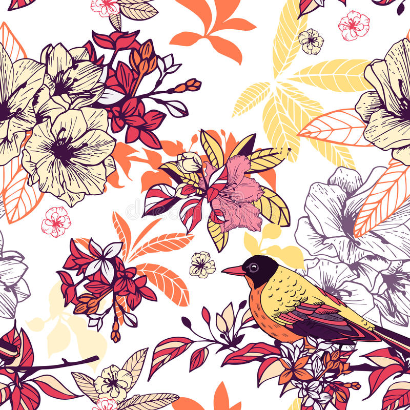 Teste padrão floral sem emenda com pássaro ilustração royalty free