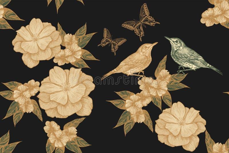 Teste padrão floral sem emenda com pássaros, rosas e borboletas Desenhado à mão, ilustração do vetor fotografia de stock