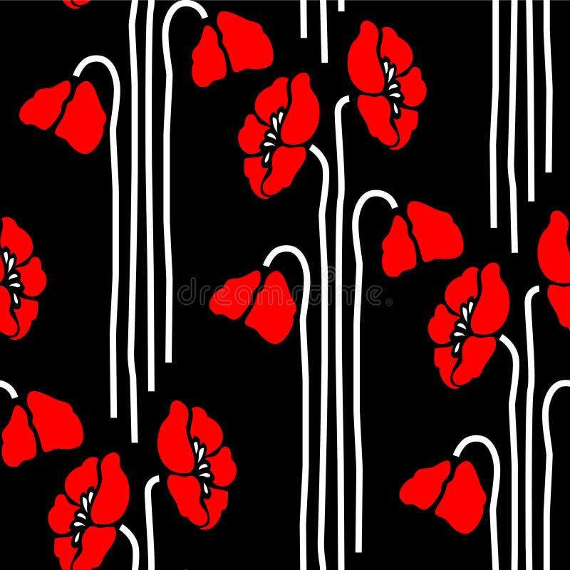 Teste padrão floral sem emenda com papoilas ilustração royalty free