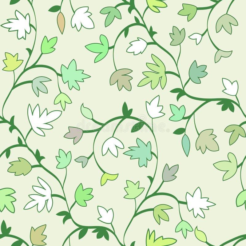 Teste padrão floral sem emenda com ramos e as folhas coloridas no estilo da mola, textura abstrata, fundo infinito Vetor ilustração do vetor