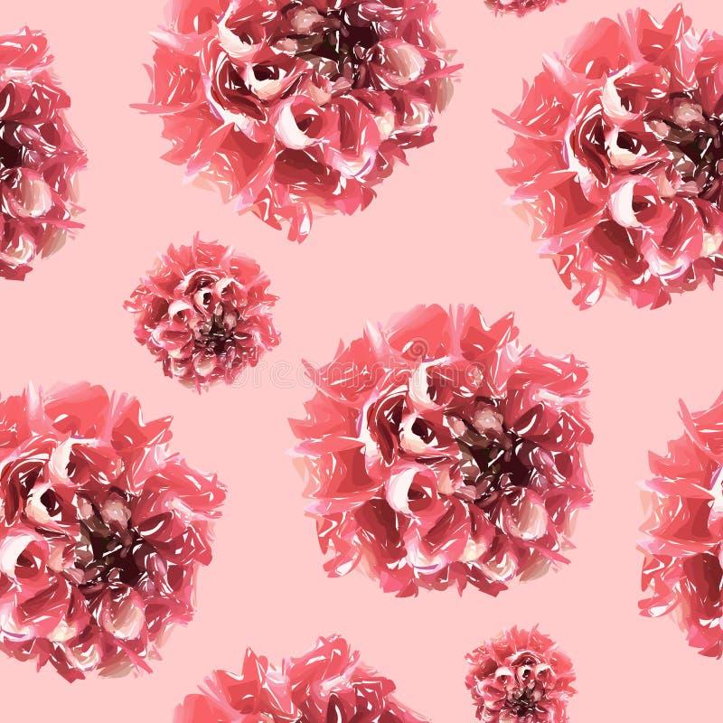 Teste padrão floral sem emenda com rosa e crisântemo vermelho no fundo cor-de-rosa ilustração stock