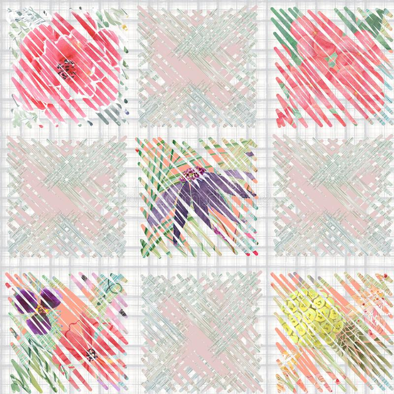Teste padrão floral sem emenda com um efeito da aquarela patchwork ilustração stock