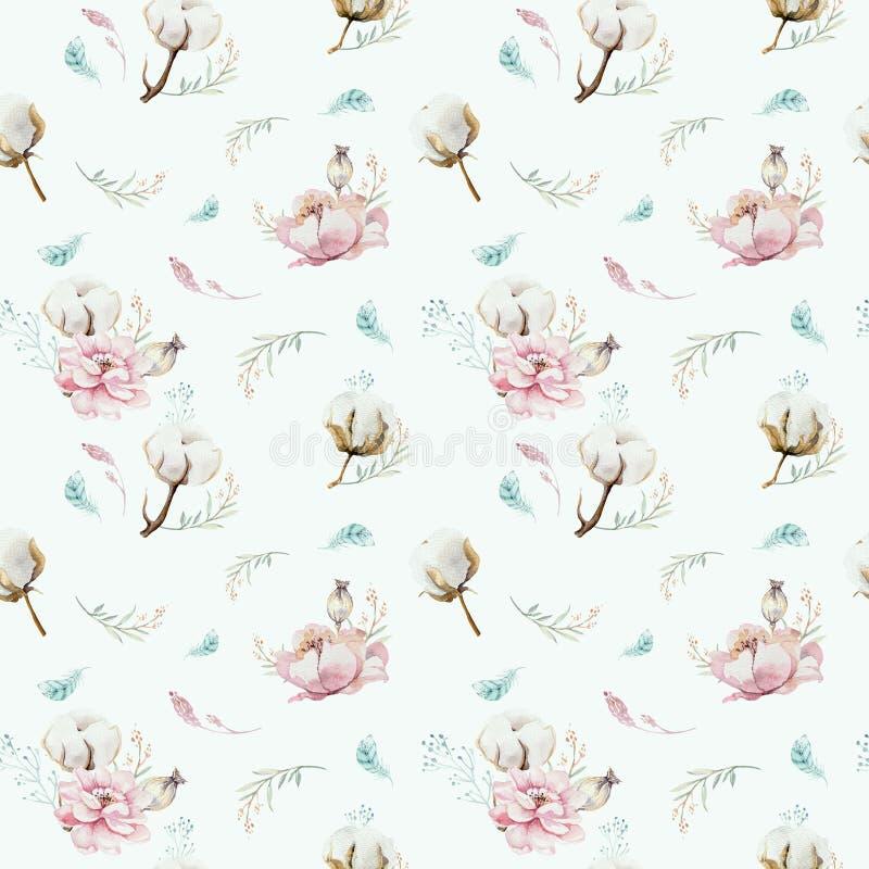 Teste padrão floral sem emenda da aquarela com algodão Testes padrões naturais boêmios: folhas, penas, flores, branco cor-de-rosa ilustração do vetor