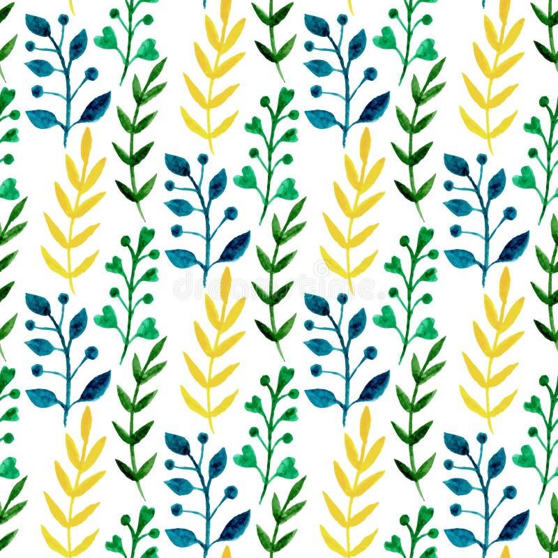 Teste padrão floral sem emenda da aquarela com folhas e ramos coloridos Mola do vetor da pintura da mão ou fundo do verão Pode se ilustração do vetor