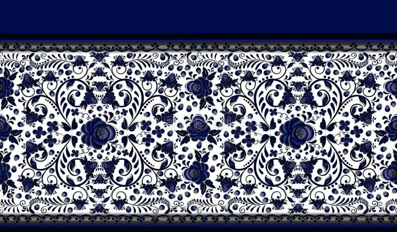 Teste padrão floral sem emenda da beira o estilo Gzhel ilustração royalty free