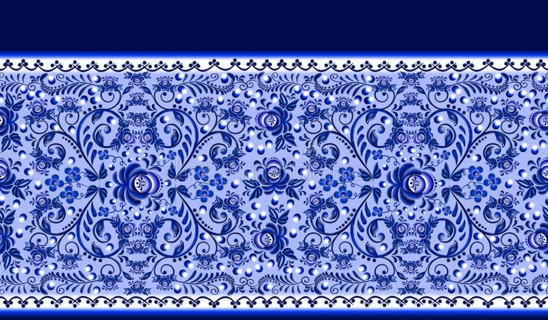 Teste padrão floral sem emenda da beira o estilo nacional Gzhelnd ilustração stock