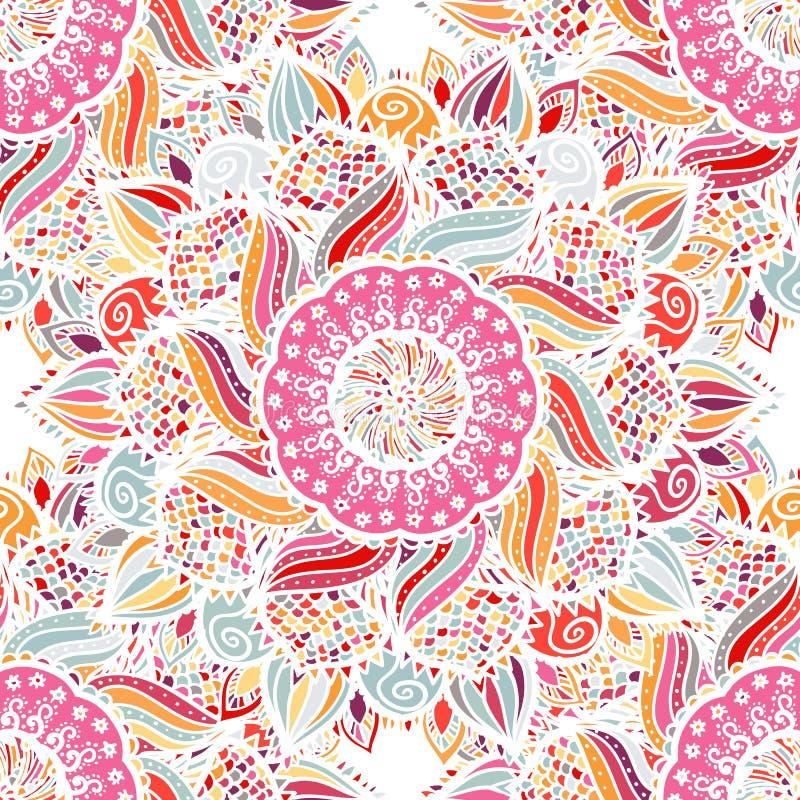 Teste padrão floral sem emenda da mandala do vetor do rosa ilustração do vetor