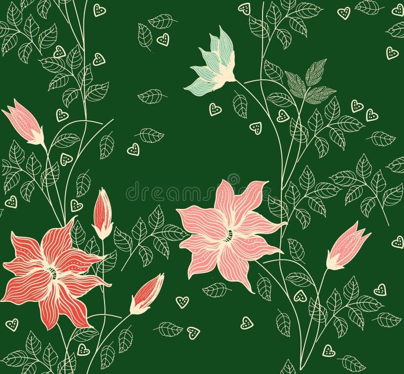 Teste padrão floral sem emenda decorativo do fundo do vintage Contexto decorativo para a tela, matéria têxtil, papel de envolvime ilustração royalty free