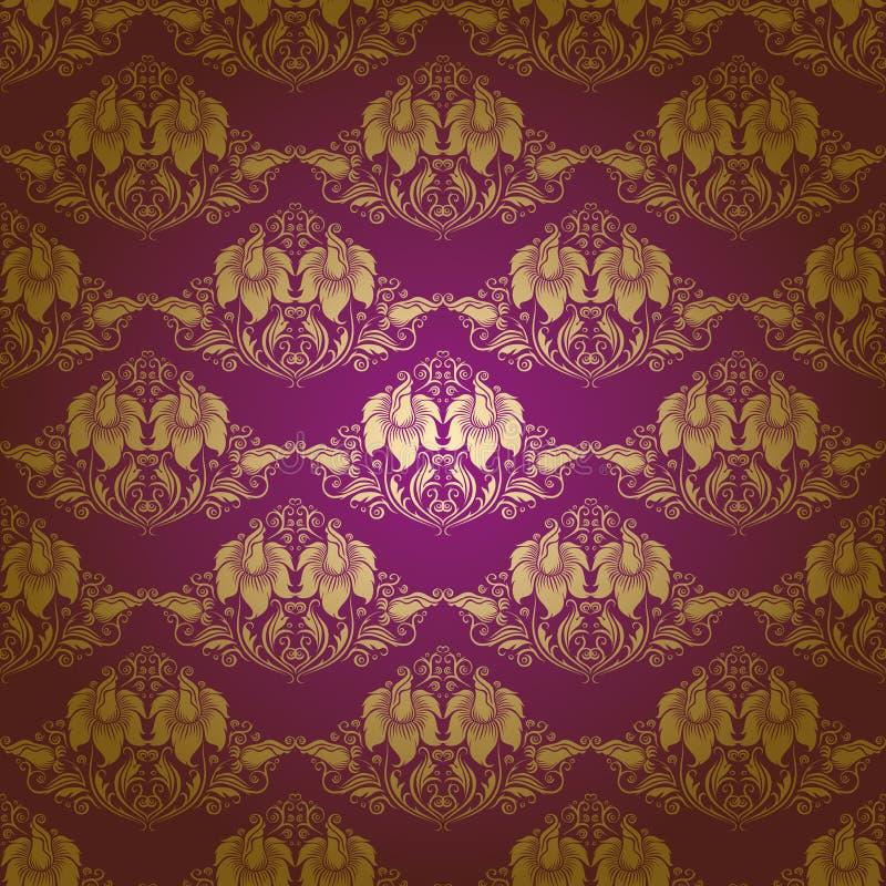 Teste padrão floral sem emenda do damasco ilustração stock