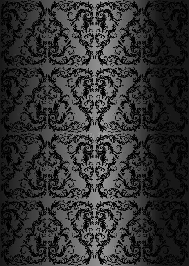 Teste padrão floral sem emenda do damasco Papel de parede real Tracery preto em um fundo preto ilustração royalty free
