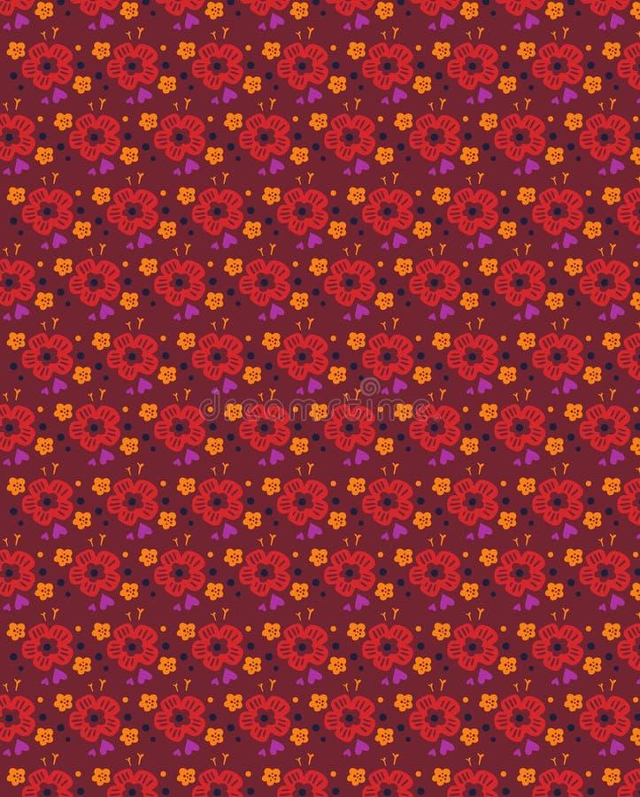 Teste padrão floral sem emenda do Grunge com formas corajosas tiradas mão Textura para a Web, cópia, matéria têxtil, tela, forma  ilustração stock