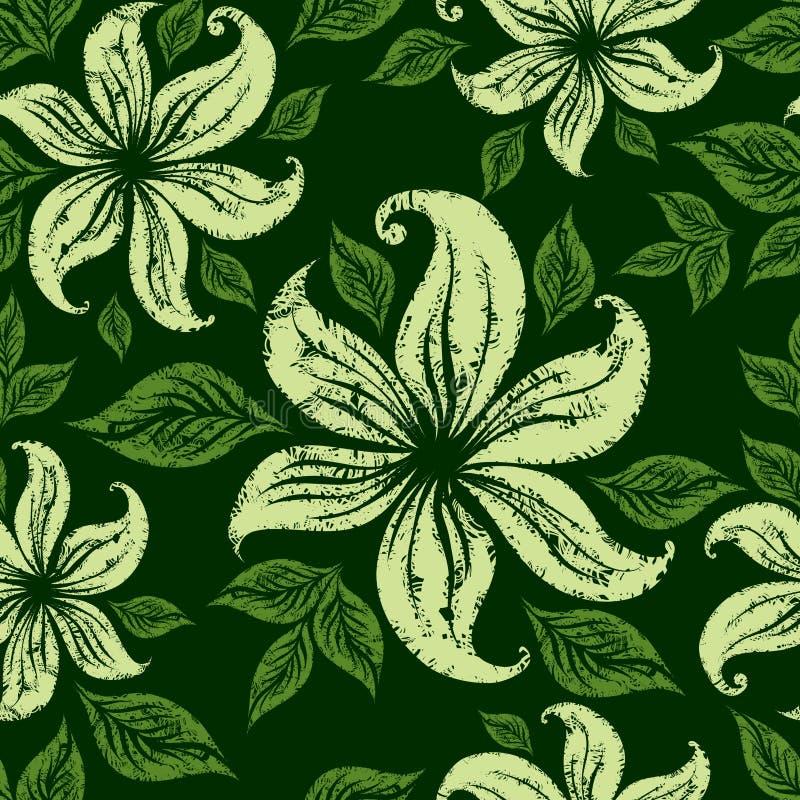 Teste padrão floral sem emenda do grunge do vetor com lillies ilustração stock