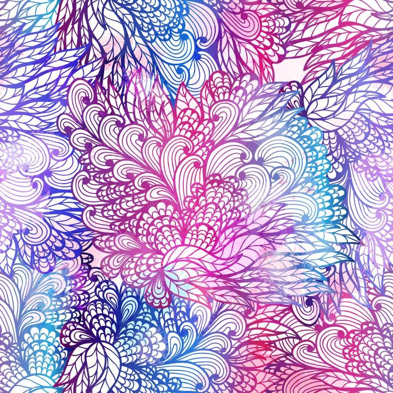 Teste padrão floral sem emenda do inclinação do grunge ilustração do vetor