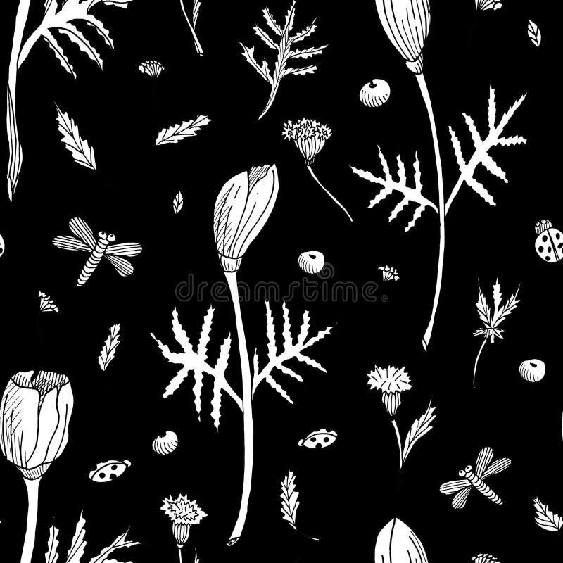 Teste padrão floral sem emenda do sumário com tulipas, folhas e ervas Flores brancas tiradas mão no fundo preto esbo?o fotografia de stock
