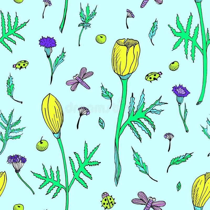 Teste padrão floral sem emenda do sumário com tulipas, folhas e ervas Flores coloridas tiradas mão em claro - fundo azul ilustração do vetor
