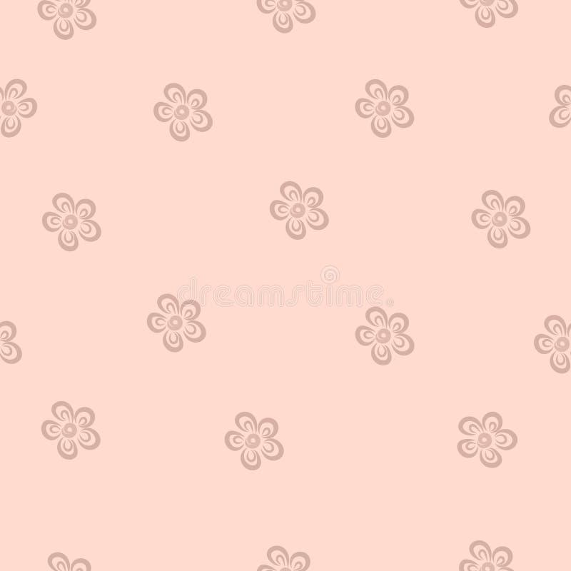 Teste padrão floral sem emenda do vetor em um fundo pastel cor-de-rosa Flores desenhados à mão pequenas ilustração stock