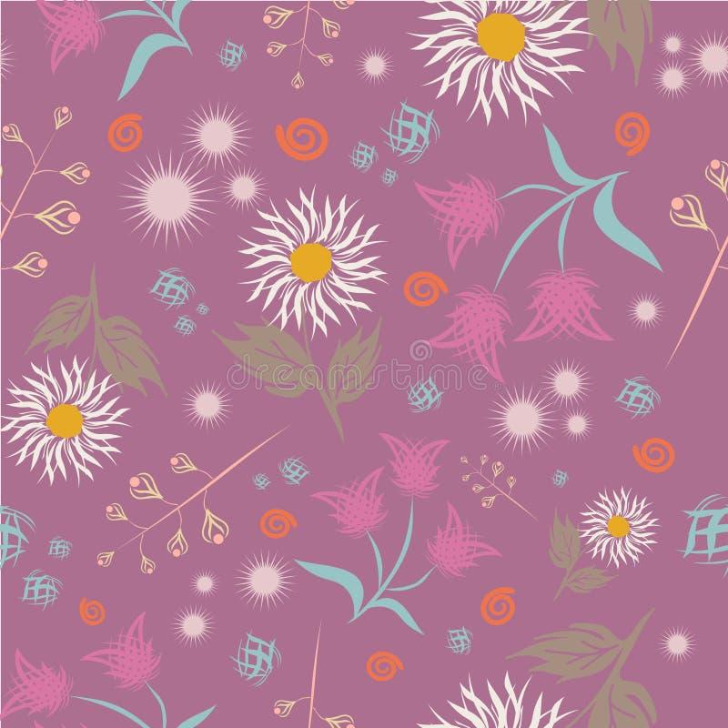Teste padrão floral sem emenda do vetor Estilo colorido brilhante abstrato moderno Mão tirada, - estoque Fundo ou papel de parede ilustração stock