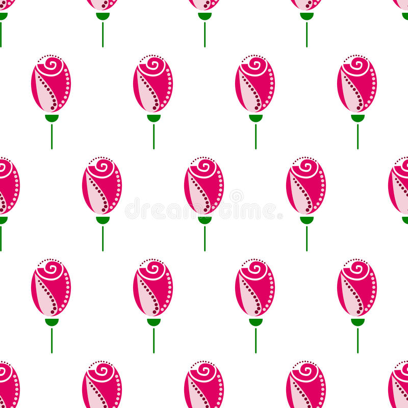 Teste padrão floral sem emenda do vetor Fundo decorativo de Symmetrcial com rosas cor-de-rosa ilustração do vetor
