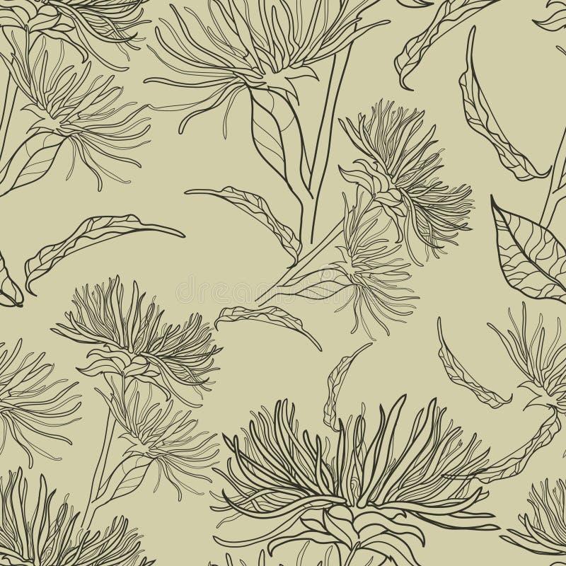 Teste padrão floral sem emenda do vintage do vetor ilustração do vetor