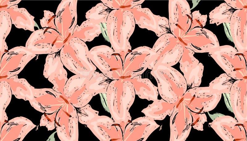 Teste padrão floral sem emenda do vintage Flores bonitas do lírio no preto Mão abstrata fundo desenhado ilustração royalty free