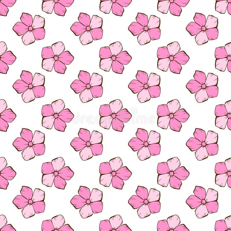 Teste padrão floral sem emenda do vintage Flores simples bonitos do estilo em um branco Mão abstrata fundo tirado do vetor ilustração stock
