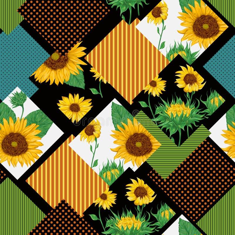 Teste padrão floral sem emenda dos retalhos com girassóis ilustração stock