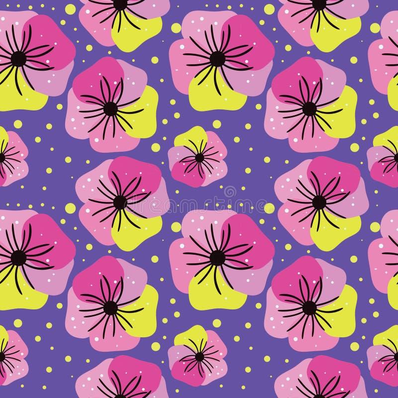 Teste padrão floral sem emenda em tons cor-de-rosa em um fundo lilás ilustração stock