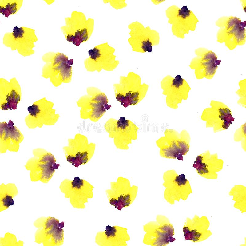 Teste padrão floral sem emenda em um fundo branco Cereja cor-de-rosa, ameixa, pera, flor da maçã Aquarela da mola e do verão ilustração royalty free