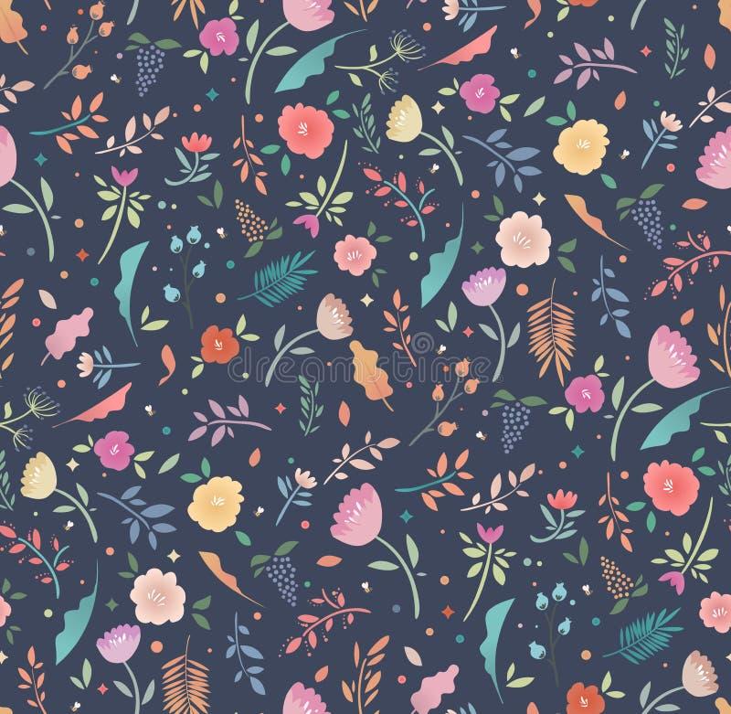 Teste padrão floral sem emenda floral colorido em um fundo escuro ilustração royalty free