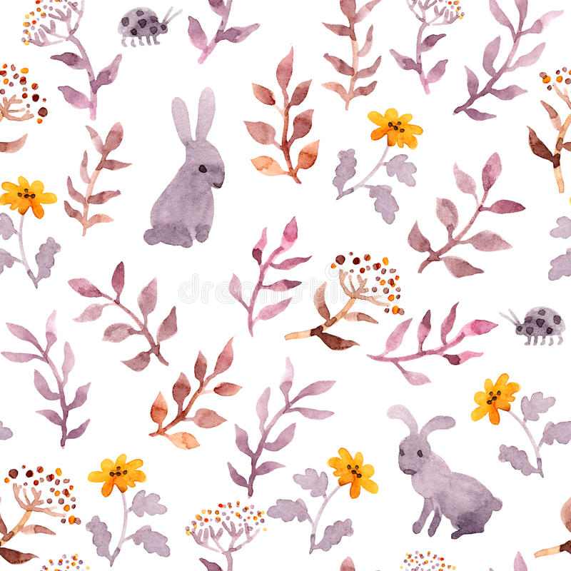 Teste padrão floral sem emenda - flores bonitos, folhas e lebres do watercolour ilustração stock