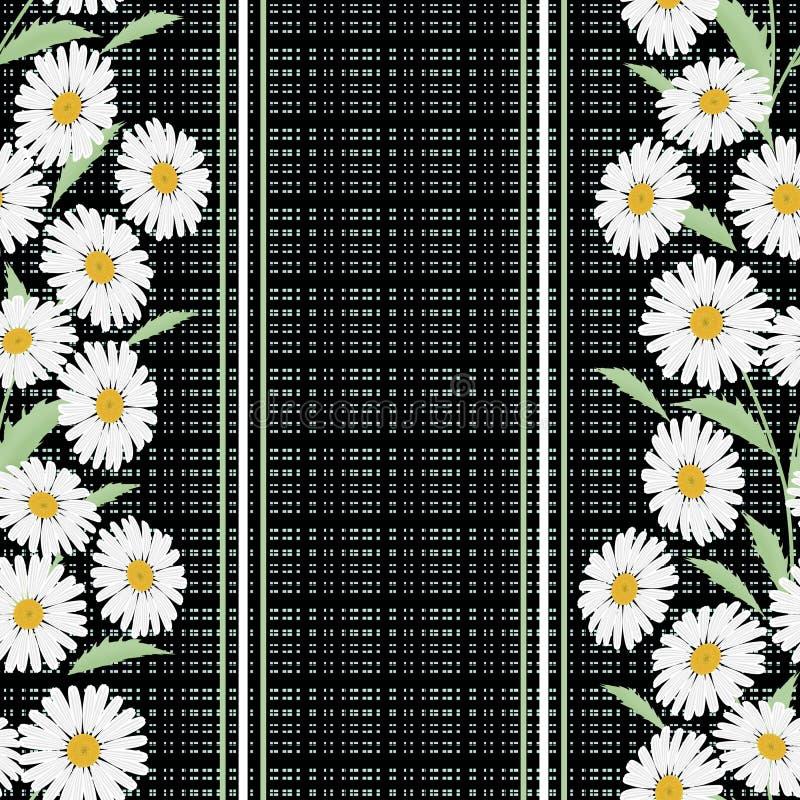 Teste padrão floral sem emenda, flores bonitos no fundo preto, listrado, imagens de stock