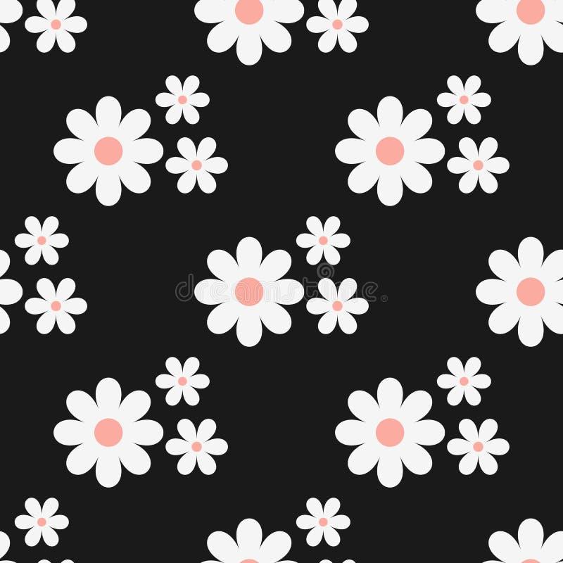 Teste padrão floral sem emenda Flores brancas em um fundo preto ilustração royalty free