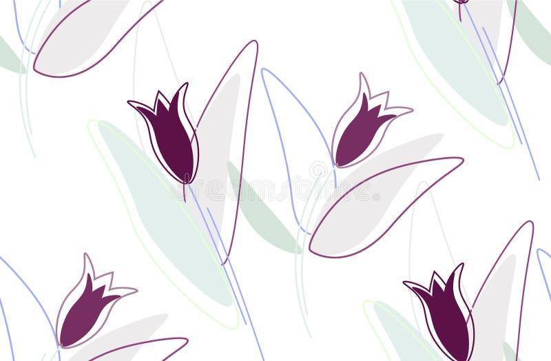 Teste padrão floral sem emenda - flores e corações coloridos ultravioletas ilustração royalty free