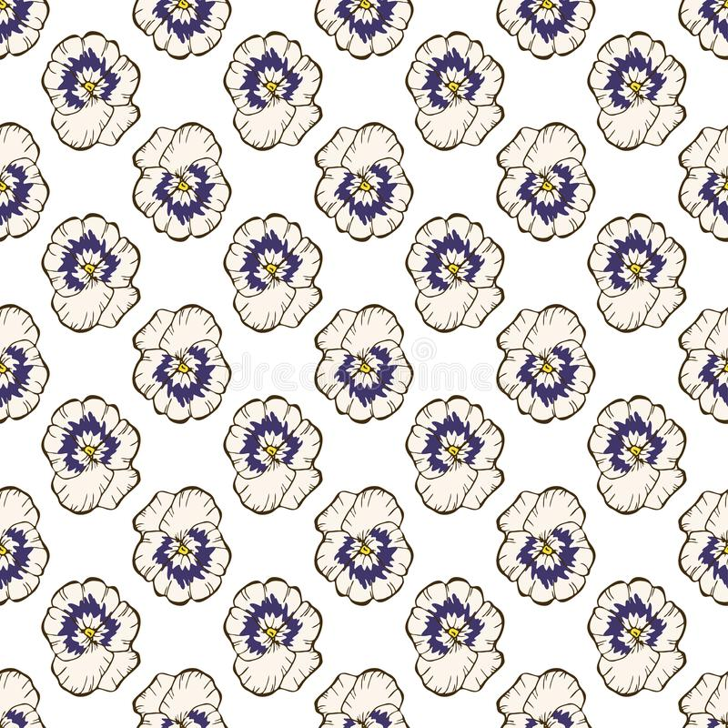 Teste padrão floral sem emenda Flores em botão bonitas do amor perfeito em um branco Mão abstrata fundo tirado do vetor ilustração do vetor