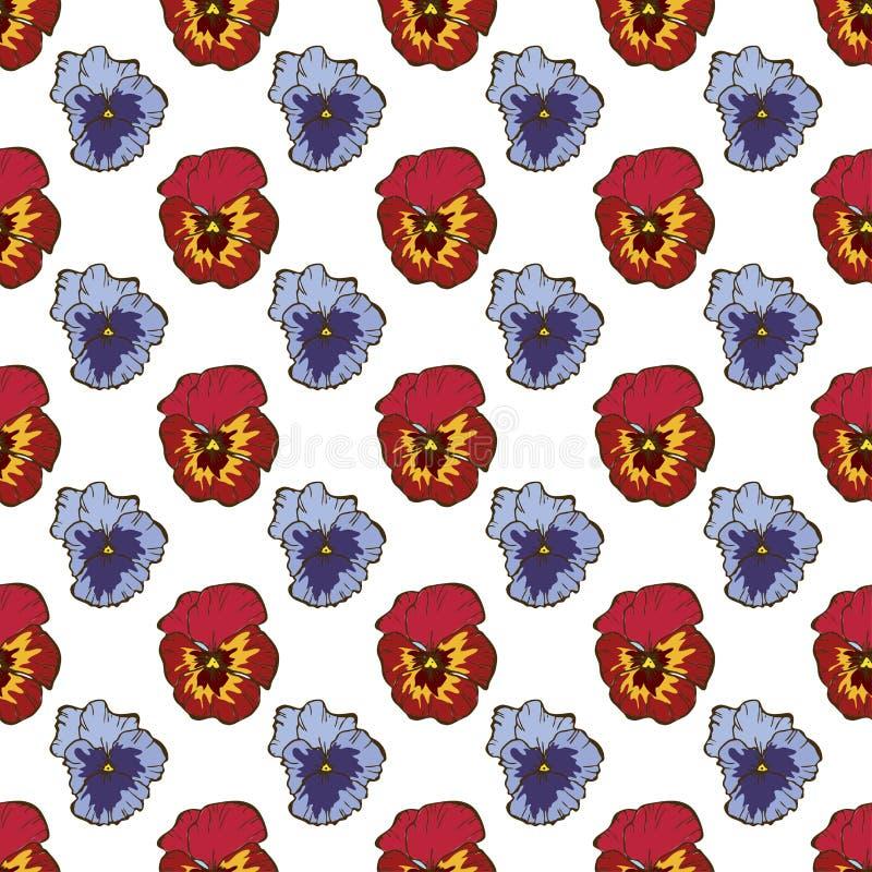 Teste padrão floral sem emenda Flores em botão bonitas do amor perfeito em um branco Mão abstrata fundo tirado do vetor ilustração royalty free