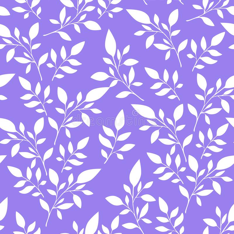Teste padrão floral sem emenda, folhas brancas no fundo para a impressão de matéria têxtil ou no fundo, papel de parede, anú ilustração do vetor