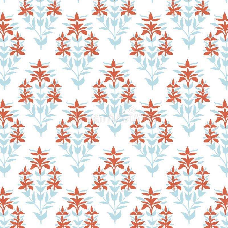 Teste padrão floral sem emenda Fundo azul e vermelho da flor do damasco Textura do papel de envolvimento da telha Vetor desenhado ilustração stock