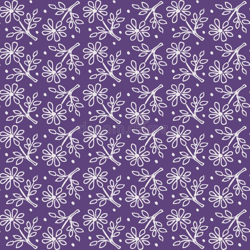 Teste padrão floral sem emenda, fundo monótonos monocromático da alfazema, matéria têxtil sem emenda, cópia da tela, projeto da f ilustração stock