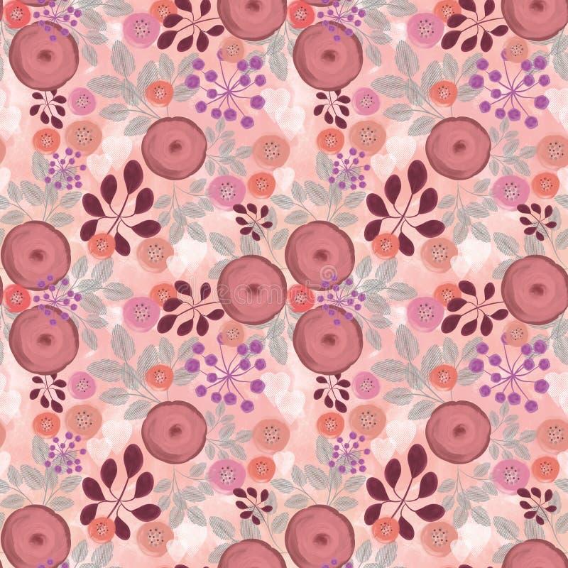 Teste padrão floral sem emenda, laranja - flores cor-de-rosa em um fundo bege da aquarela ilustração royalty free