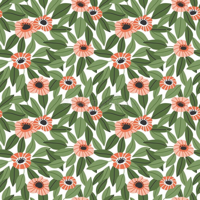 Teste padrão floral sem emenda na moda no estilo tirado mão do vetor Ditsy repetiu o fundo ilustração stock