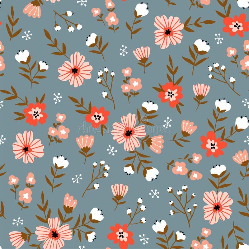 Teste padrão floral sem emenda na moda Projeto da tela com flores simples Teste padrão ditsy repetido bonito do vetor ilustração stock