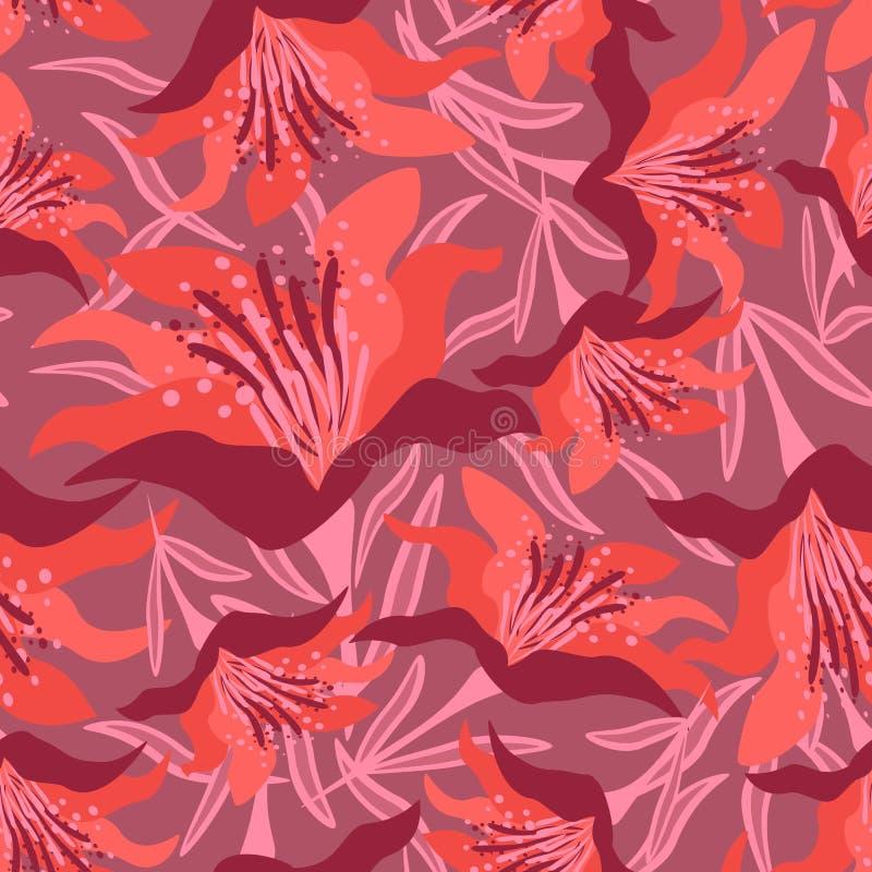 Teste padrão floral sem emenda no escuro - fundo vermelho com folhas ilustração stock