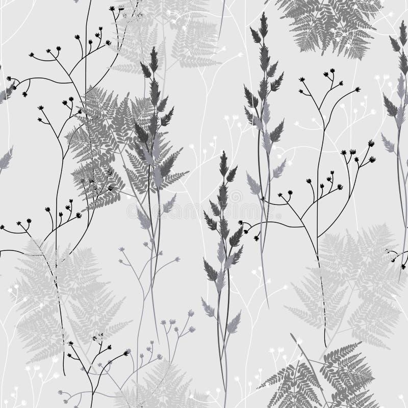 Teste padrão floral sem emenda no estilo do vintage Folhas e ervas Ilustração botânica ilustração do vetor