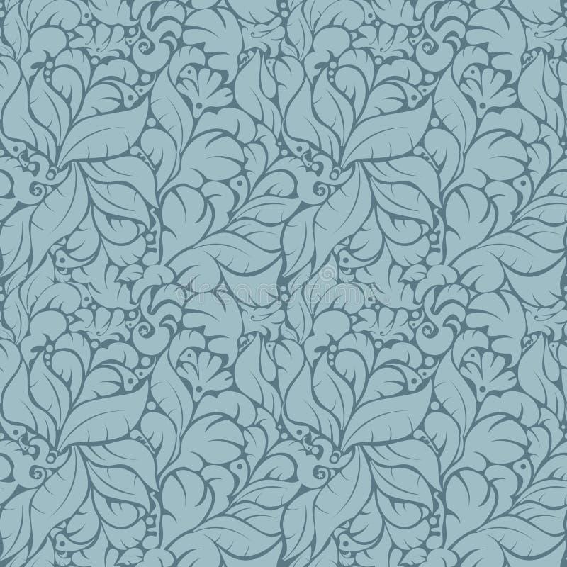 Teste padrão floral sem emenda no fundo azul ilustração stock