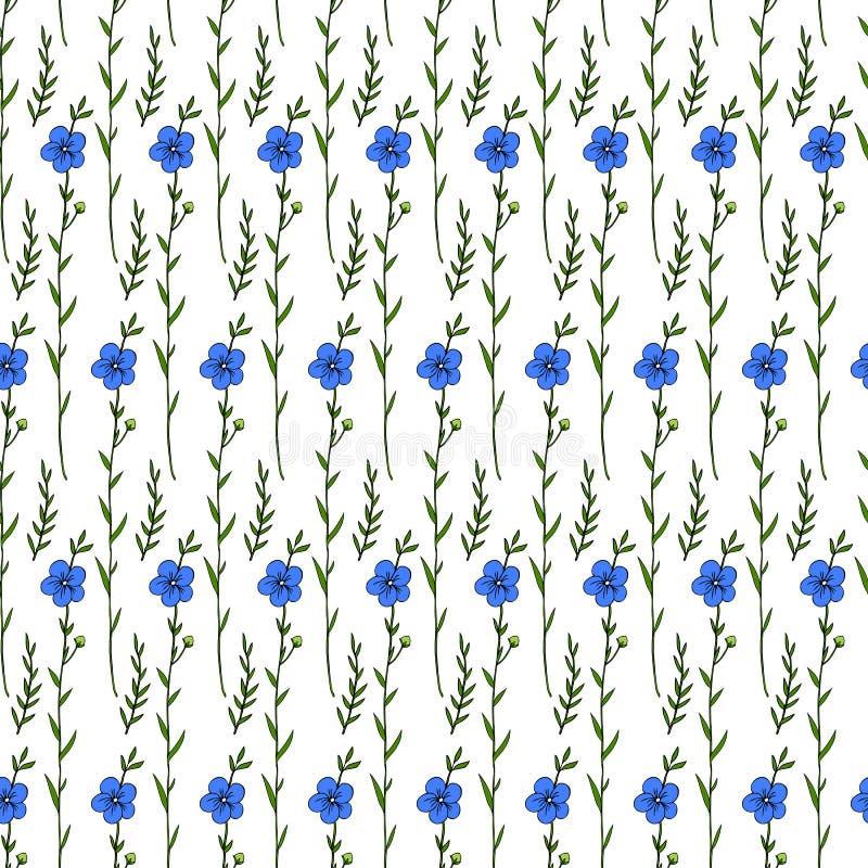 Teste padrão floral sem emenda, planta do linho, flor selvagem do campo isolada no fundo branco, tinta tirada mão do vetor do esb ilustração do vetor