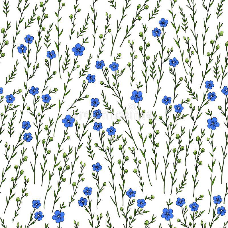 Teste padrão floral sem emenda, planta do linho, flor selvagem do campo no fundo branco, garatuja tirada mão do vetor do esboço ilustração stock